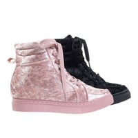 Anchora01 Mauve Pink By Bamboo, High-Top Hidden Wedge Sneaker w Platform & Metallic Crushed Velvet.