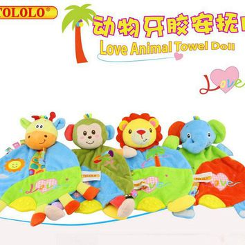 Hot 30cm*21cm Baby Toys Lion Giraffe Scarf Handkerchief appease Towel Rattles Doll Gift For Soothe Towel Educational Plush Toys
