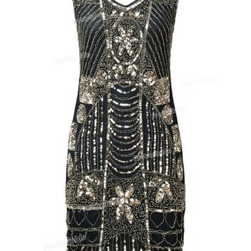 PrettyGuide Women's 1920s Gatsby Sequin Beaded Art Deco Scalloped Hem Cocktail Flapper Dress Roaring 20s Party Dress