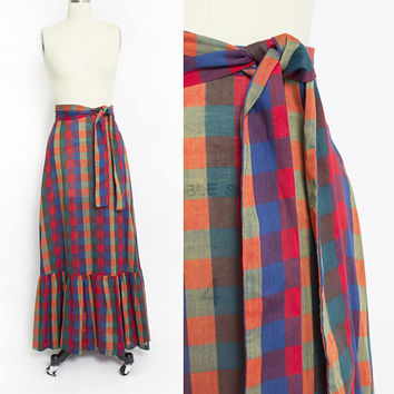 Vintage 1970s Skirt - Cotton Checker Full Length Ruffle Maxi Skirt 70s - Extra Small