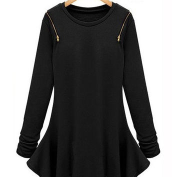 Long Sleeve Asymmetrical Zip T-shirt