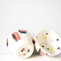 Happy polka dots and stripes handmade porcelain bowls - modern painted ceramic pottery bowl