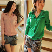 Women Candy Color Chiffon Long Sleeve Button Down Shirt Shoulder Padded Top 3719