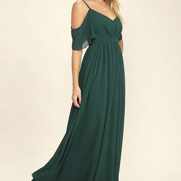 Ways of Desire Dark Green Maxi Dress