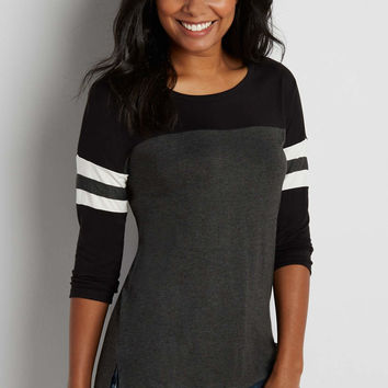 dolman football tee with high-low hem in charcoal combo | maurices