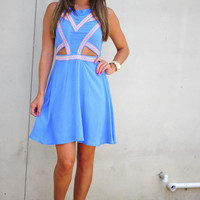 Feeling So Native Dress: Blue/Neon Pink | Hope's
