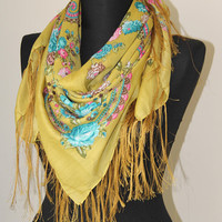 Russian Scarf-Mustard Russian Scarf-Women Accessories-Women Scarves-Fashion Scarf-Fall Fashion-Winter Scarf-Spring scarf-gift ideas