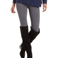 Charcoal Heather Fleece Lined Seamless Leggings by Charlotte Russe