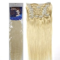 """20"""" Inch Silky Straight Clip on in Human Hair Extensions, 10pcs, 100g, Color #613 (Platinum Blonde)"""