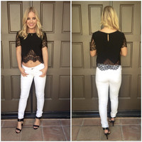 Va Va Voom Little Black Lace Blouse
