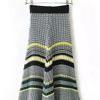 Striped Knitted Midi Fishtail Skirt