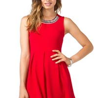 Lizzie Jewel Collar Flare Dress