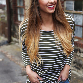 Moss + Ivory Striped Piko
