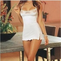 On Sale Hot Deal Cute Sexy Lace Spaghetti Strap Sleepwear White Exotic Lingerie [6628063939]
