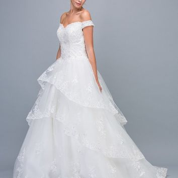 Off-Shoulder Lace Tiered Wedding Ball Gown Off White