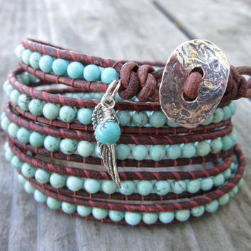 The Heavenly Turquoise Leather Wrap Bracelet by NoliePolieOlies