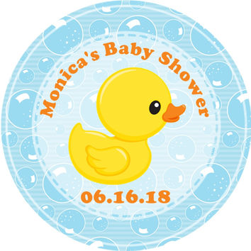 """Yellow Duck Baby Shower Stickers Or Favor Tags - 2.5"""" Round"""