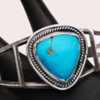 Turquoise Cuff Bracelet - Sterling Silver - Southwestern  -Native American - Old Pawn