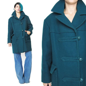 1960s Teal Green Wool Winter Coat Vintage Duffle Toggle Coat Womens Peacoat Faux Fur Lined Coat Mens Wool Coat Unisex Zip Up Outerwear (M/L)