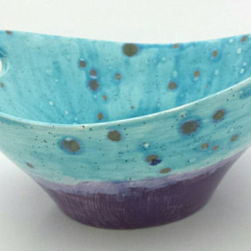 Blue & purple glazed ceramic bowl with handles and crackled glass spots