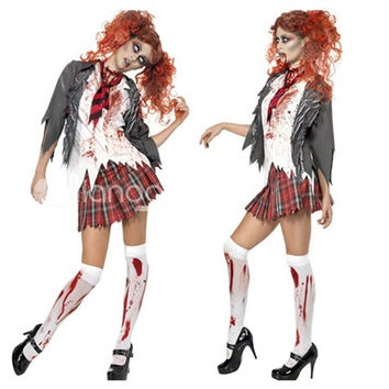Halloween Women's Adult Living Dead Zombie Schoolgirl Costume Set 4PCS Fancy Party Dress = 1946293700