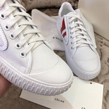 2018 spring Celine small white shoes wild casual wind small fresh color matching canvas shoes student flat shoes White
