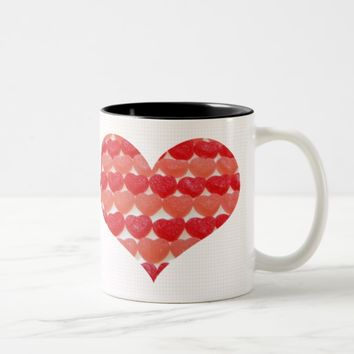Candy Hearts In A Row, Heart Shaped Two-Tone Coffee Mug