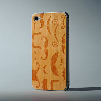 Mustache Montage iPhone 4/4S Real Wood Skin (Front & Back Cover) Made in the USA - FREE Shipping