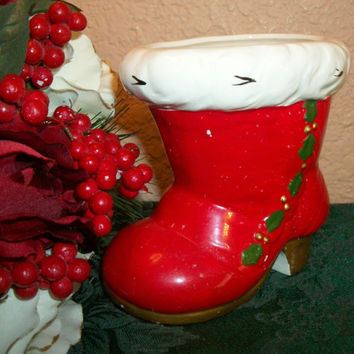 Santa Claus Boot Christmas Decoration Vintage Relpo Hand Painted Ceramic Candy Cane Dish Planter  Retro  Red and White Holiday Home Decor