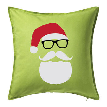 Lime Green Hipster Santa Pillow Cover