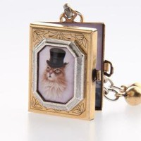Classic Hardware Brass and Silver Puss N' Boots Storybook Locket - Punk.com