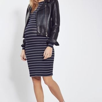 MATERNITY Long Sleeve Stripe Bodycon Dress - Maternity - Clothing