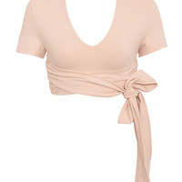 Work-Out Wear : 'Tranquil' Nude Tie Wrap Ballet Top