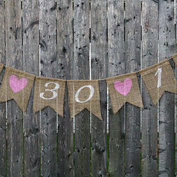 Burlap Wedding Banner - Wedding or Shower Date / Save The Date Burlap Banner / Wedding Bunting / Engagement Photo Prop / Wedding Sign