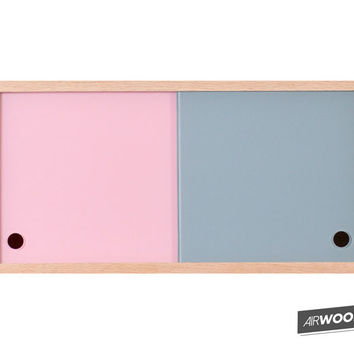 Pink + Gray Vinyl Record Accessory Cabinet