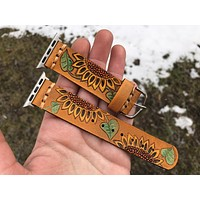 Retro Leather Apple Watch Band Sunflowers