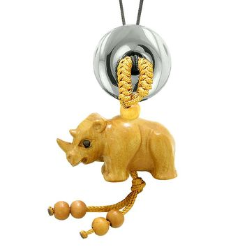 Baby Rhino Cute Good Luck Car Charm or Home Decor Hematite Lucky Coin Donut Protection Magic Amulet