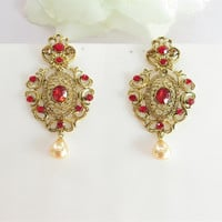 Red Crystal Earrings/Bridesmaid Earrings/Wedding Earrings/Red Crystal Earrings