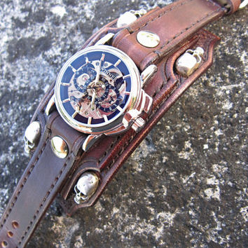 Biker Leather Skull Watch, Brown Bikers Watch, Biker Jewelry