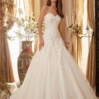 Blu by Mori Lee 5470 Strapless Lace Drop Waist A-Line Wedding Dress – Off White by Bridal Expressions