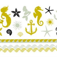 Metallic Beach, Anchor, Seahorse, Mermaid, Starfish Tattoo Set