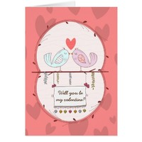 Cute birds in love valentine's day greeting card