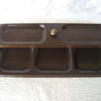 Vintage Wood Valet;For Him Vanity;Desk stage; Jewelry Box; Lid Lifts Off for easy access; For Men; Made by SWANK