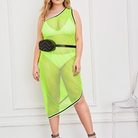 Plus Neon Lime Contrast Striped Fishnet Dress