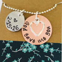 God Gave Me You Necklace, Hand Stamped Necklace