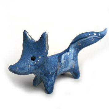 Milky way fox, galaxy animal figure in deep blue polymer clay with silver accents