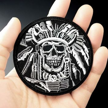 10pcs SKULL Chief DIY Embroidered Patch Iron On Patch Sewing Applique Clothes Patch Stickers Apparel Accessories