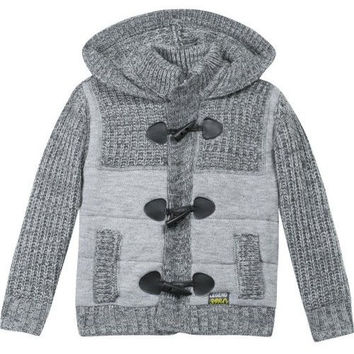 3pommes - Boys Knit Down Jacket, Gray