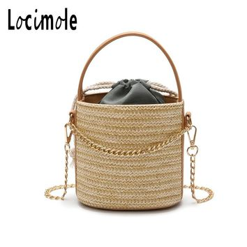 Locimole Weaved Designer Beach Bag Travel Knitted Straw Tote Bucket