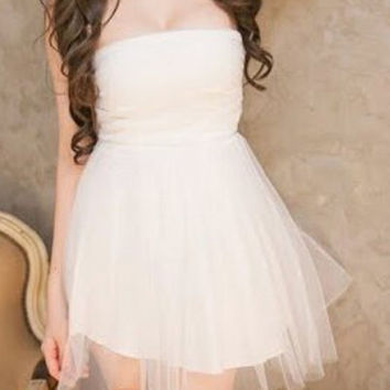 White Strapless Chiffon Dress